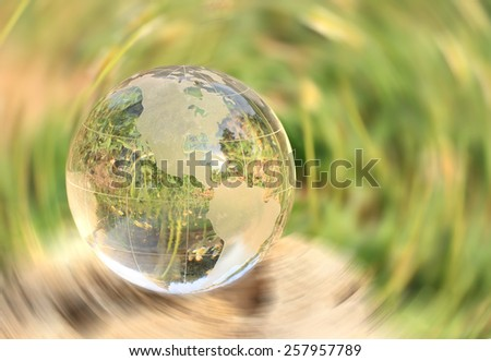 Crystal World American Zone with reflections radial blur background. - stock photo
