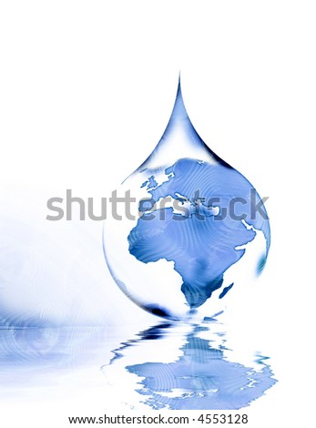 crystal world in the drop water - stock photo