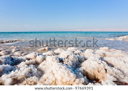 crystalline coastline of Dead Sea, Jordan - stock photo