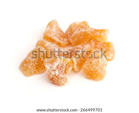 Crystallized Ginger Root (Zingiber officinale) - stock photo