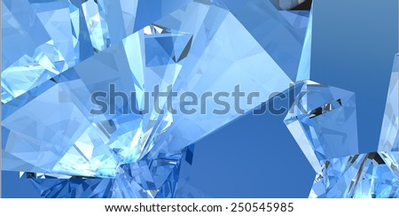 Crystals background 3 Three-dimensional image of crystals crystal. Transparent stone, mineral. - stock photo