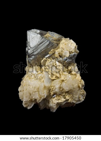 Crystals of a galenit and quartz on a black background