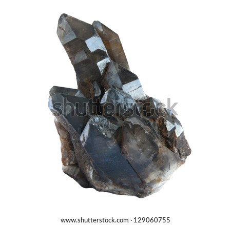 Crystals of black quartz it is isolated on a white background