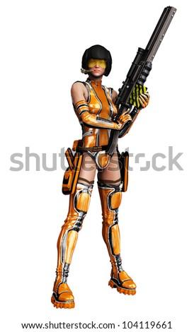 csi girl in darling got a gun - stock photo