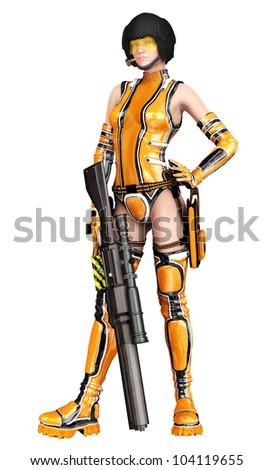csi girl with thegun down - stock photo