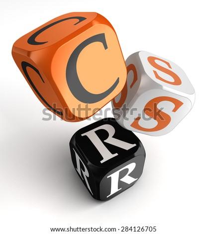 csr acronym for corporate social responsibility orange black dice blocks on white background - stock photo