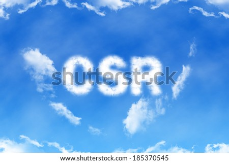 CSR cloud word on blue sky background - stock photo
