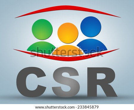 CSR - Corporate Social Responsibility text illustration concept on grey background with group of people icons - stock photo