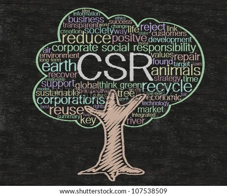 csr or corporate social responsibility,concept and words tag cloud written on blackboard  background, high resolution, easy to use. - stock photo