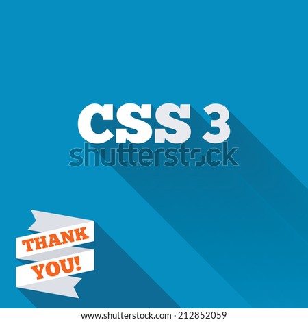 CSS3 sign icon. Cascading Style Sheets symbol. White flat icon with long shadow. Paper ribbon label with Thank you text. - stock photo
