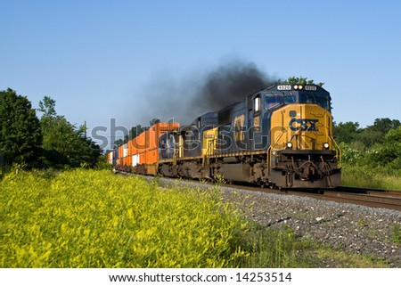 CSXT Freight Train - stock photo
