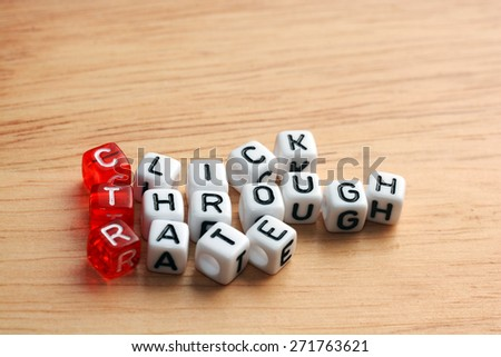 CTR Click Through Rate  written  on dices onwooden surface