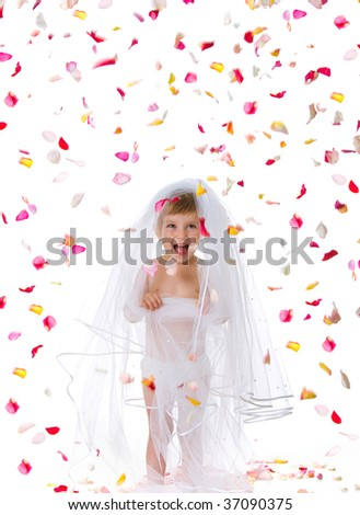 Ctue little girl in a veil. Studio shot - stock photo