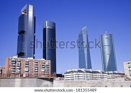 Cuatro Torres Bussiness Area in Madrid, Spain. - stock photo