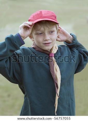 cub scout in uniform - stock photo