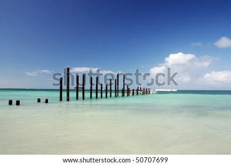 Cuba beach view in small island near Varadero. - stock photo