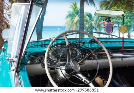 Cuba blue old-timer park near the beach in havana interior view - stock photo