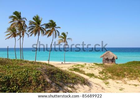 Cuba - Caribbean beach Playa Megano in Playas del Este part of Havana Province. Sandy coast. - stock photo