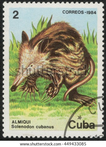"CUBA - CIRCA 1984: A post stamp printed in Cuba shows a series of images ""Fauna cubes"", circa 1984 - stock photo"