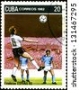 CUBA - CIRCA 1982: A post stamp printed in Cuba shows shows football, series devoted World Cup in Spain, circa 1982. - stock photo