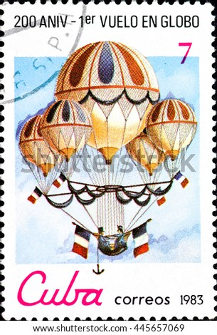 CUBA - CIRCA 1983: a postage stamp printed in Cuba commemorative of the 200 anniversary of the first balloon flight, circa 1983 - stock photo