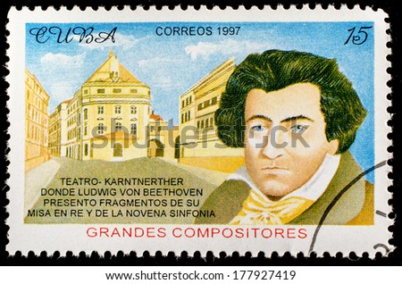 CUBA - CIRCA 1997: a postage stamp printed in Cuba showing an image of Ludwig van Beethoven, circa 1997.  - stock photo
