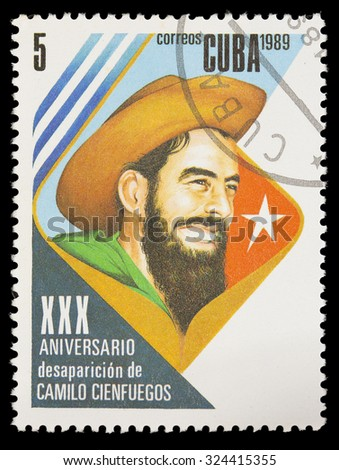 CUBA - CIRCA 1989: A postage stamp printed in Cuba shows the Cuban Revolution with the portrait of Camilo Cienfuegos, circa 1989 - stock photo