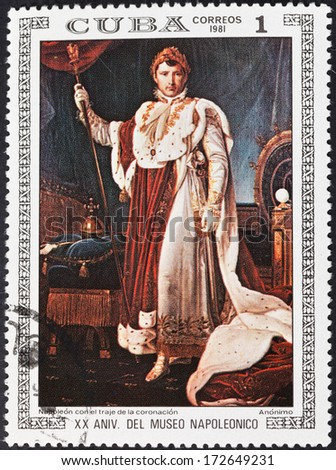 CUBA - CIRCA 1981: A postage stamp printed in the Cuba shows Napoleon in coronation dress by Francois Gerard, circa 1981 - stock photo