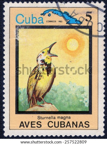 "CUBA - CIRCA 1983:A postage stamp shows Sturnella magna, from series ""Cuban Birds"", circa 1983 - stock photo"
