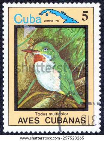 "CUBA - CIRCA 1983:A postage stamp shows Todus multicolor, from series ""Cuban Birds"", circa 1983 - stock photo"