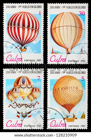 CUBA - CIRCA 1983: A set of postage stamps printed in CUBA shows Balloons and airships, series, circa 1983