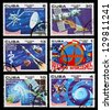 CUBA - CIRCA 1980: A set of postage stamps printed in CUBA shows cosmos, series, circa 1980 - stock photo
