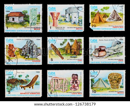 CUBA - CIRCA 1986: A set of postage stamps printed in CUBA shows culture peoples of the World, series, circa 1986