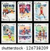 CUBA - CIRCA 1983: A set of postage stamps printed in CUBA shows olympic games in Los Angeles 1984, series, circa 1983 - stock photo