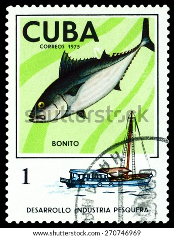 CUBA - CIRCA 1975: a stamp printed by Cuba  show the fish Long-finned Tuna, series Fishing Industry, circa 1975 - stock photo