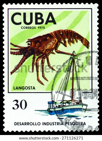 CUBA - CIRCA 1975: a stamp printed by Cuba  show the  Lobster, series Fishing Industry, circa 1975 - stock photo