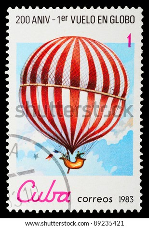 CUBA - CIRCA 1983: A stamp printed by CUBA shows air-balloon, series, circa 1983