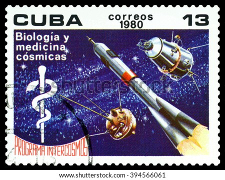 CUBA - CIRCA 1980: a stamp printed by Cuba shows Biology and  Medicine,  Space Program of the Soviet Union, circa 1980 - stock photo