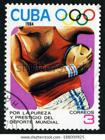 CUBA- CIRCA 1984: a stamp printed by Cuba shows Discus, Olimpics Games, Los Anbgeles 1984, USA, circa 1984 - stock photo