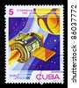 CUBA - CIRCA 1983: A stamp printed by CUBA shows flying spacecraft in space. Mars 2, circa 1983 - stock photo