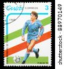 CUBA - CIRCA 1989: a stamp printed by CUBA shows football players. World football cup in Italy, series, circa 1989 - stock photo