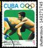CUBA- CIRCA 1984: a stamp printed by Cuba shows game in Wrestling, Olimpics Games, Los Anbgeles 1984, USA, circa 1984 - stock photo