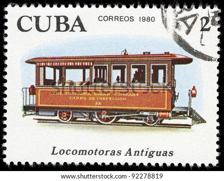 CUBA- CIRCA 1980: A stamp printed by CUBA shows locomotive, series, circa 1980 - stock photo