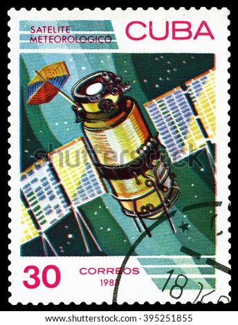 CUBA - CIRCA 1983: a stamp printed by Cuba shows  Meteorological satellite,  the study of near-Earth space, circa 1983 - stock photo