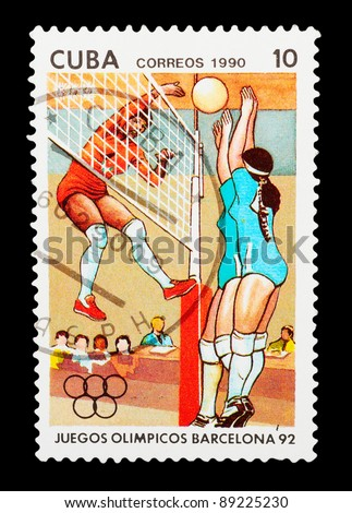 CUBA- CIRCA 1990: A stamp printed by Cuba shows volleyball. BARCELONA OLYMPIC GAMES 92 series, circa 1990