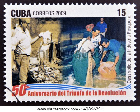 CUBA - CIRCA 2009: A stamp printed in cuba dedicated to 50 anniversary of the triumph of the revolution, shows creation of school sport, circa 2009