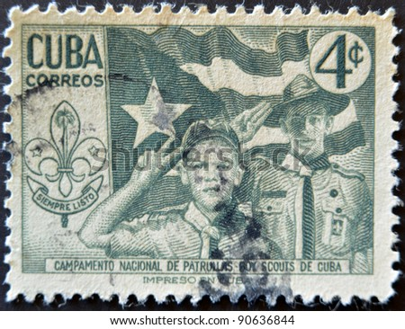 CUBA - CIRCA 1954: A stamp printed in Cuba dedicated to national camp scout patrols of Cuba, circa 1954 - stock photo