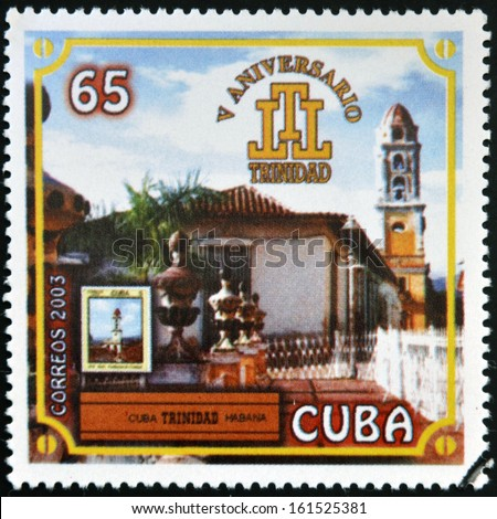CUBA - CIRCA 2003: A stamp printed in Cuba dedicated to the Cuban cigar industry shows Trinidad, circa 2003 - stock photo