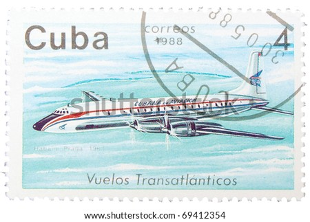CUBA - CIRCA 1988: A stamp printed in Cuba dedicated to transatlantic flights - Habana-Prague, circa 1988
