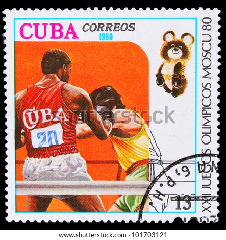 CUBA - CIRCA 1980: A stamp printed in CUBA, devoted Olympic Games in Moscow (1980) and shows Boxing, two boxers in ring, circa 1980